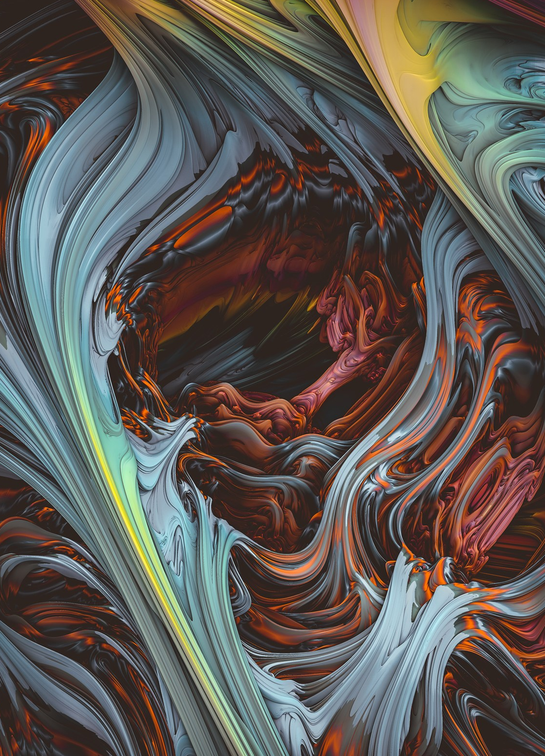 Glacial Mass II. Wind & Fire 3D Abstract Art Design