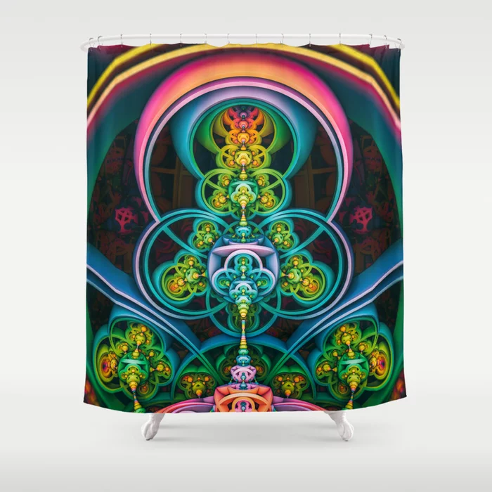 Time Shell II. 3D Colorful Abstract Design Shower Curtain