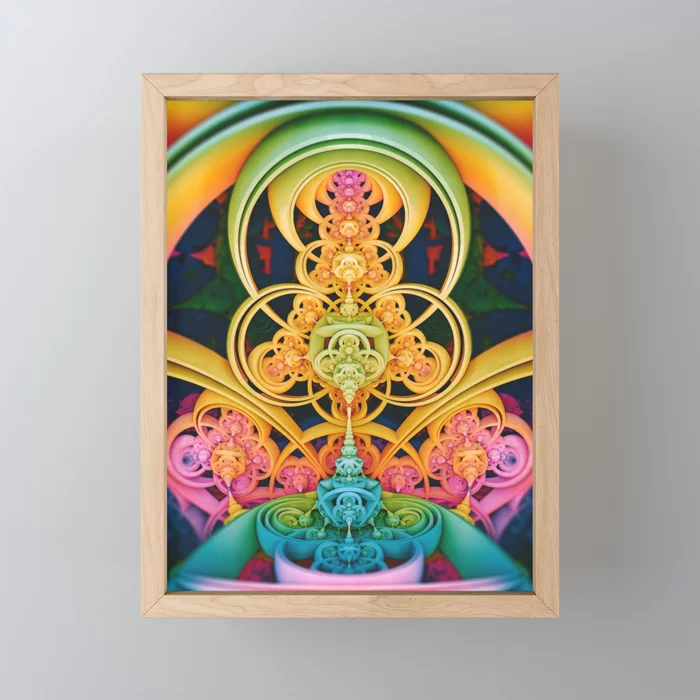 Time Shell III. Colorful Abstract Render Framed Mini Art Print
