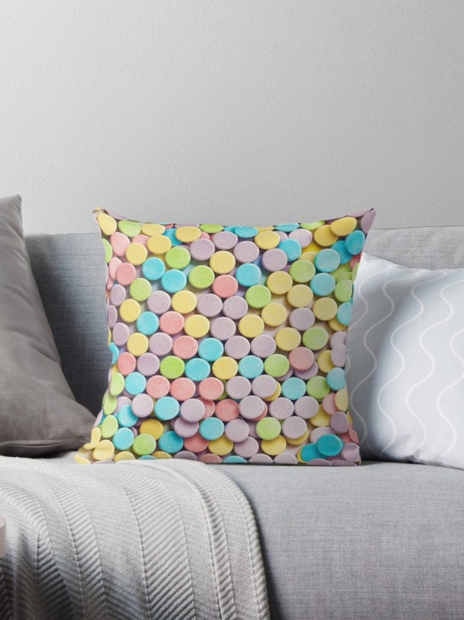 Sweetarts Photo Candy Pattern by Patterns Soup Pillow