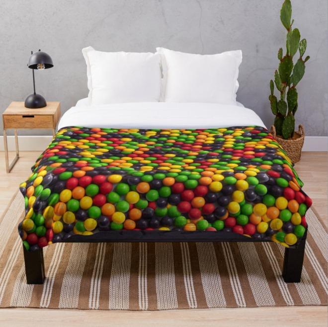 Everlasting Gobstopper Candy Pattern Throw Blanket