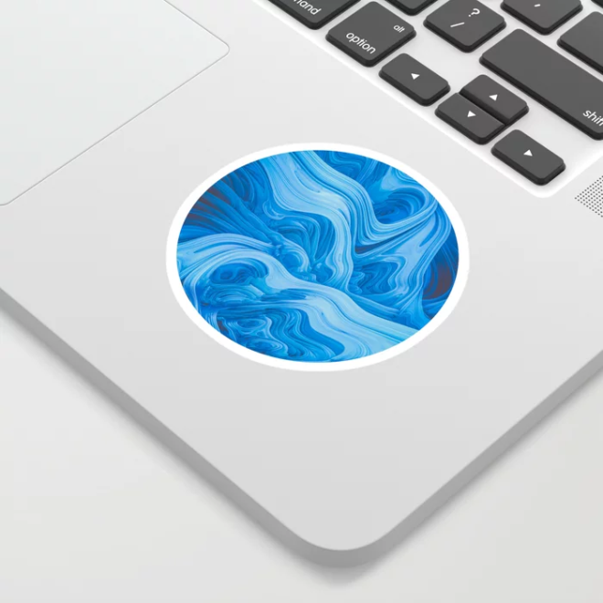 Endless Blue. 3D Abstract Melting Wave Art Stickers