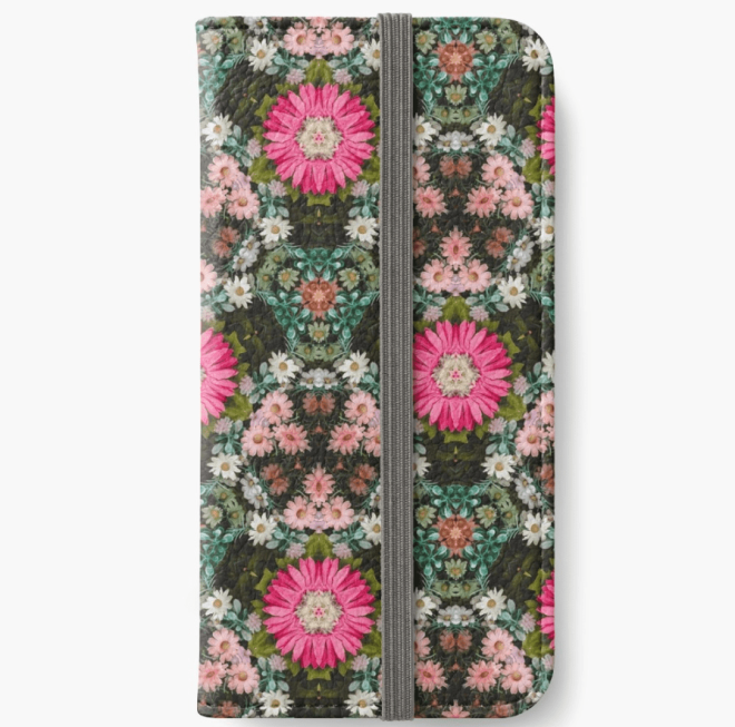 Flower Patch Photo Kaleidoscope Pattern iPhone Wallet Designed by patternsoup
