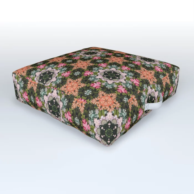 Flower Star Patch Photo Kaleidoscope Pattern Outdoor Floor Cushion by PatternsSoup