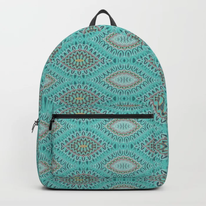 Teal Abstract Shell Vector Pattern Backpack by PatternsSoup