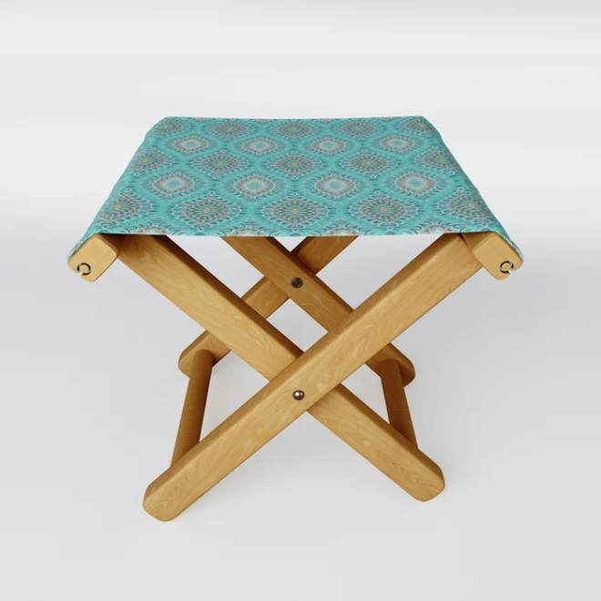 Teal Abstract Shell Vector Pattern Folding Stool by PatternsSoup