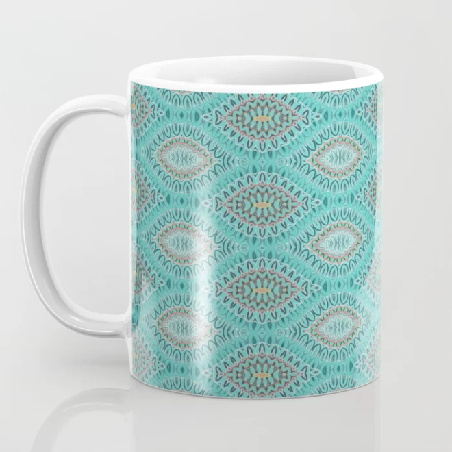 Teal Abstract Shell Vector Pattern Coffee Mug by PatternsSoup