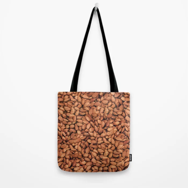 Organic Almond Photo Food Pattern Tote Bag by PatternsSoup