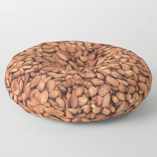 Organic Almond Photo Food Pattern Floor Pillow by PatternsSoup