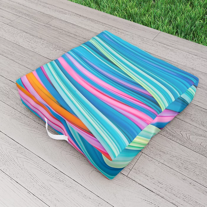 Strain Wave II. Abstract Art Outdoor Floor Cushion by lovefi