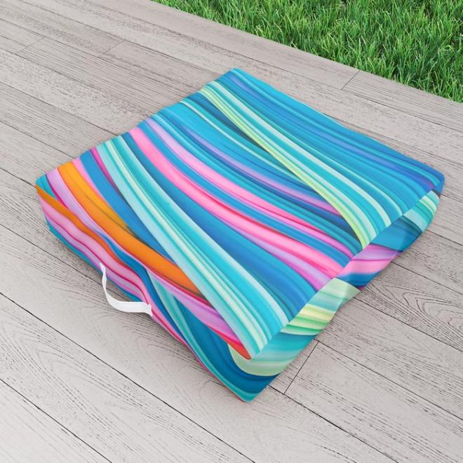 Strain Wave II. Abstract Art Outdoor Floor Cushion by lovefi
