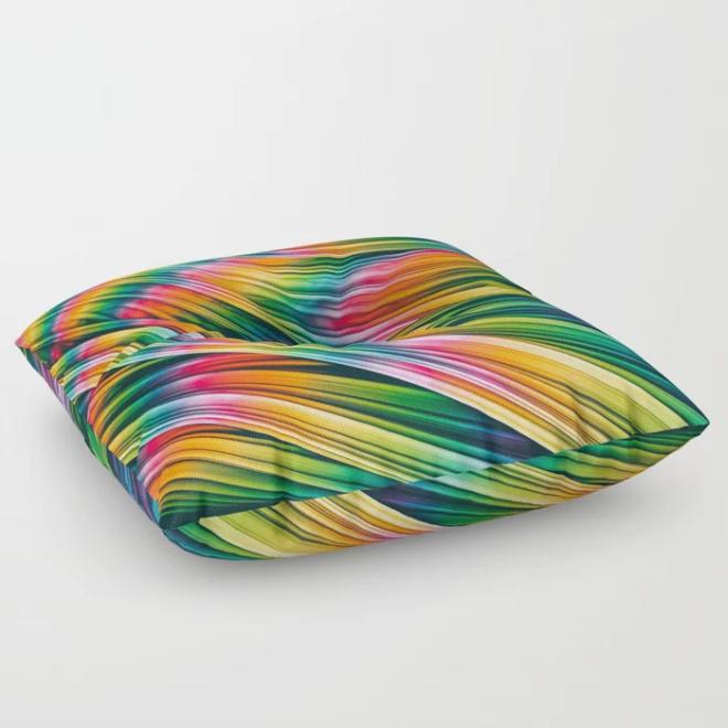 Strain Wave III. Tie-Dye Floor Pillow by lovefi
