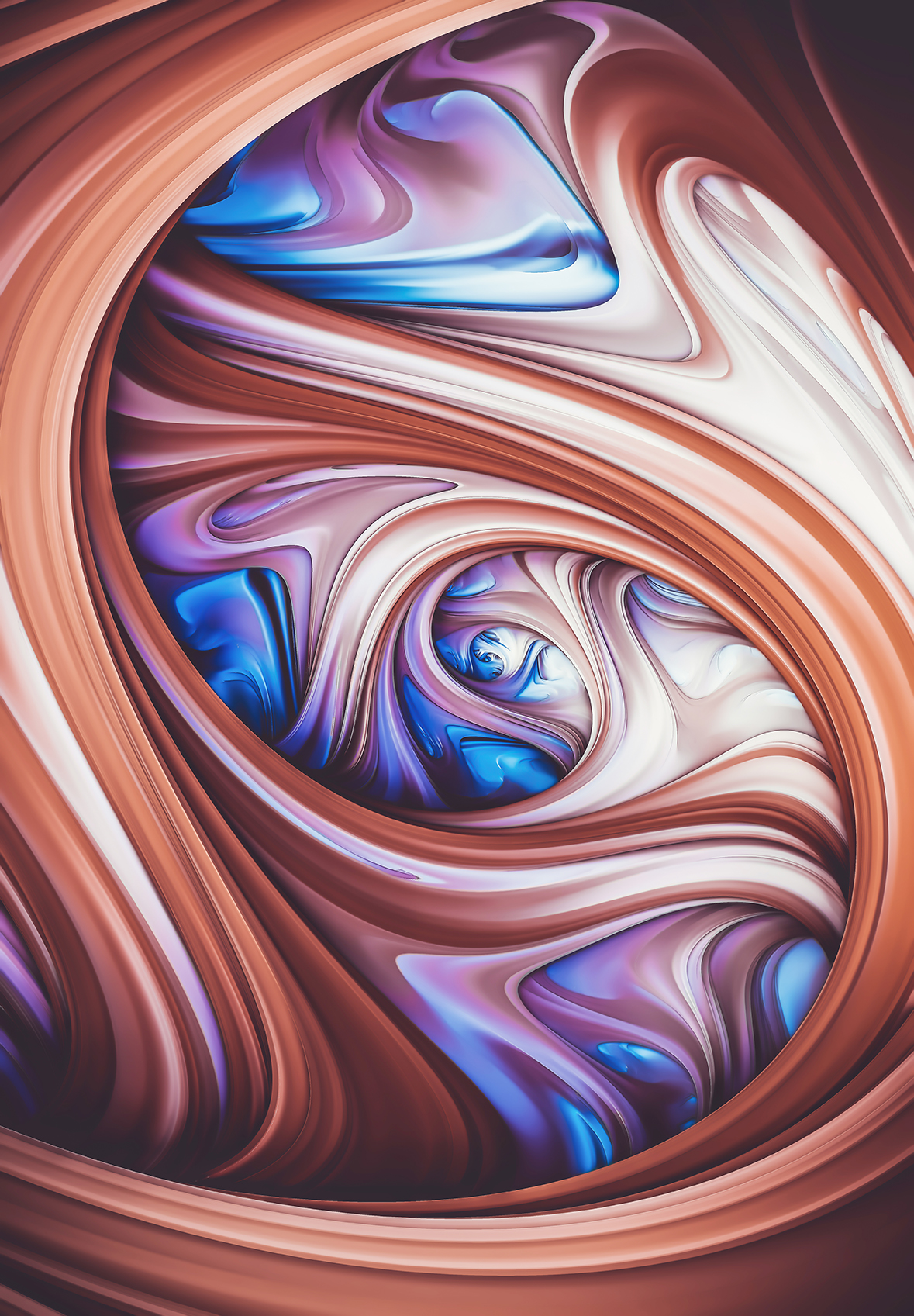 Blueberry Caramel. Abstract Swirl Art By Stephen Geisel, Love-fi