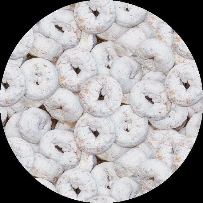 Mini Powdered Sugar Donuts Photo Pattern Art Print by PatternsSoup