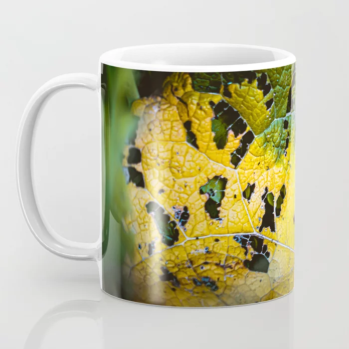 Green Leaf Consumption. Nature Photography Mug by Stephen Geisel