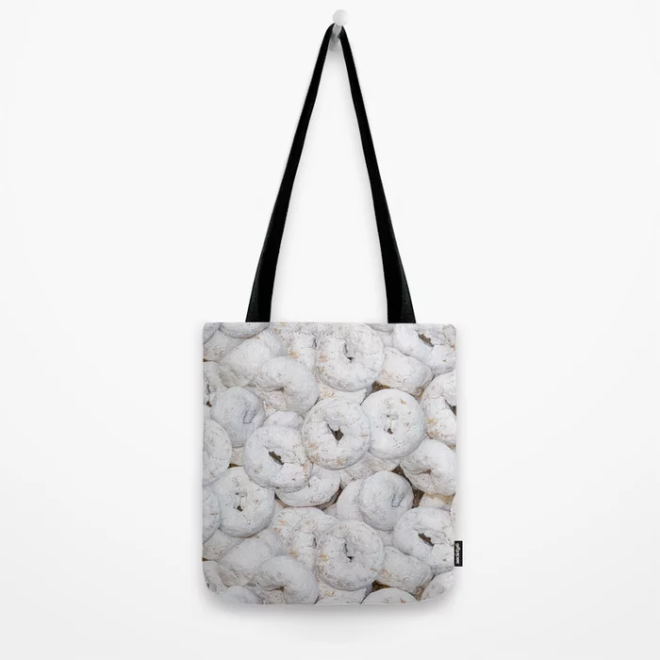 Mini Powdered Sugar Donuts Photo Pattern Tote Bag by PatternsSoup