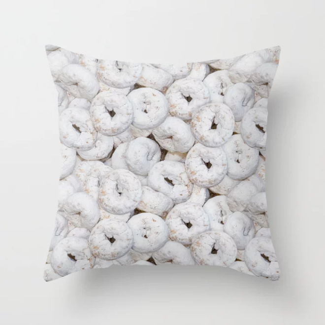 Mini Powdered Sugar Donuts Photo Pattern Throw Pillow by PatternsSoup