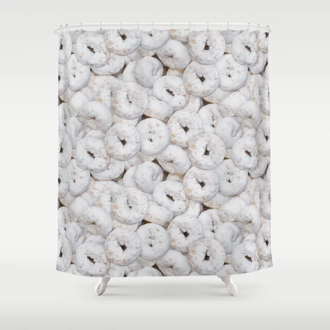 Mini Powdered Sugar Donuts Photo Pattern Shower Curtain by PatternsSoup