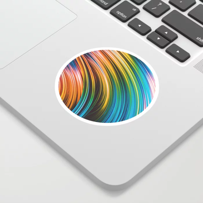 Stranded Strain III.2 Colorful Abstract Strands Sticker by lovefi