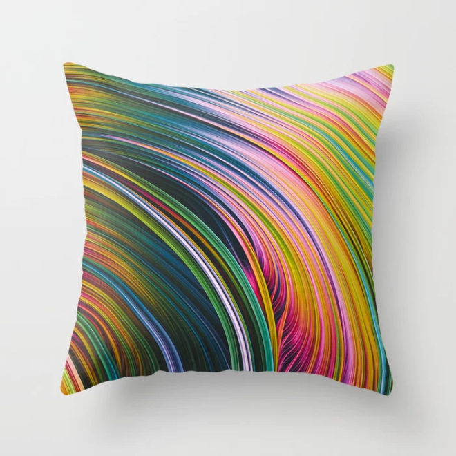 Stranded Strain III.  Blue, Green, Pink & Yellow Throw Pillow   by Stephen Geisel, Love-fi