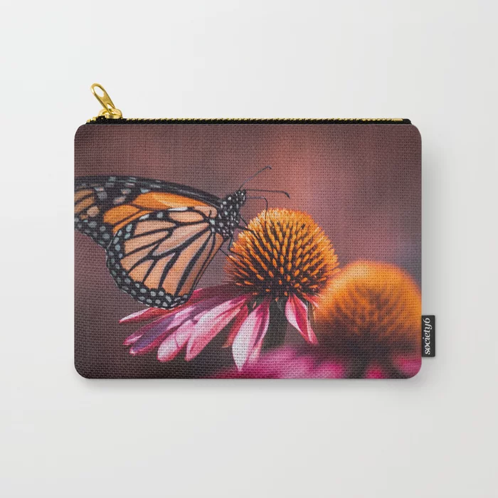 Resting Monarch. Butterfly Photograph Carry-All Pouch by lovefi