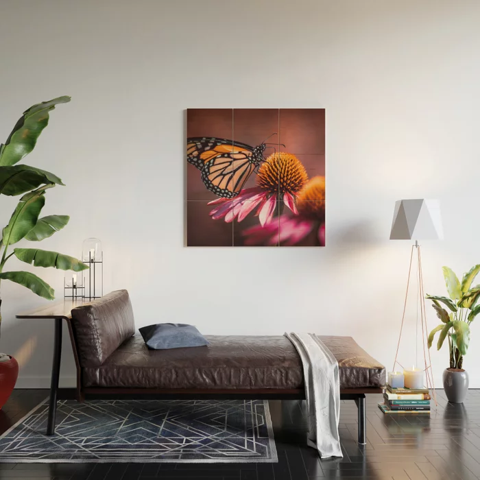 Resting Monarch. Butterfly Photograph Wood Wall Art by lovefi