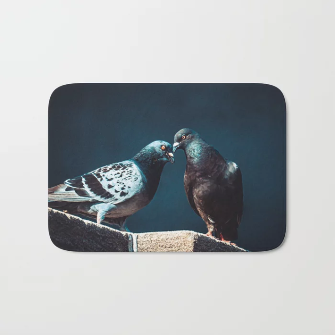 Pigeon Kiss. Just A Peck. Photograph Bath Mat by lovefi