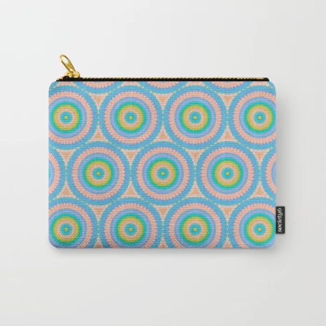 Happy Pastel Super Circles Vector Pattern Carry-All Pouch by PatternsSoup