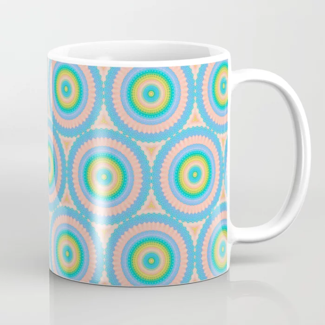 Happy Pastel Super Circles Vector Pattern Coffee Mug by PatternsSoup