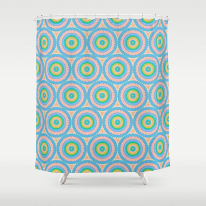 Happy Pastel Super Circles Vector Pattern Shower Curtain by PatternsSoup
