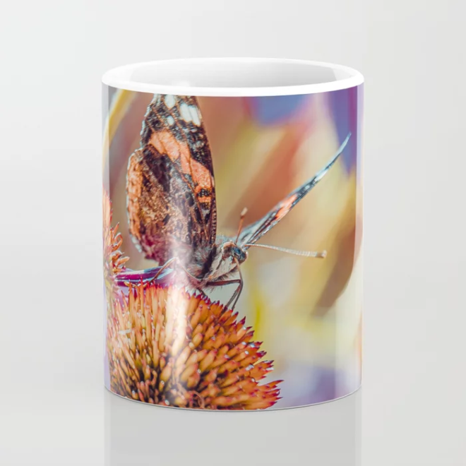 Landing Pad. Beautiful Butterfly Photograph Coffee Mug by lovefi