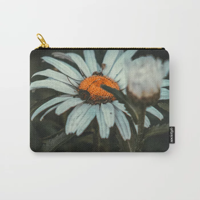 Shaded Daisy. Flower Photograph Carry-All Pouch by lovefi
