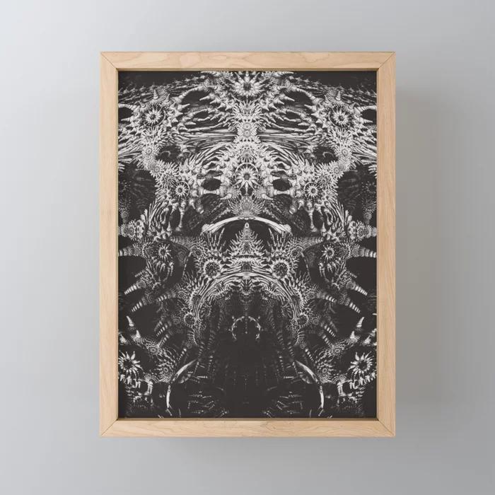 Emperor. Black & White Abstract Framed Mini Art Print by lovefi