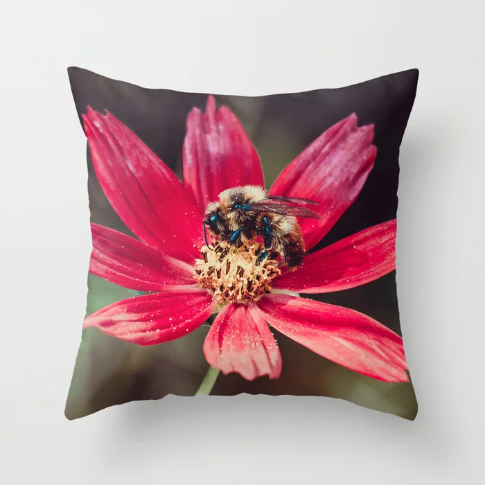 Pollen Collection. Bee Photograph Throw Pillow by lovefi