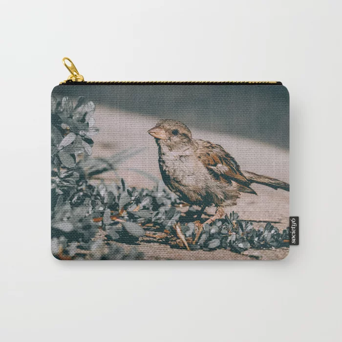 Summer Sparrow. Bird Photograph Carry-All Pouch by lovefi