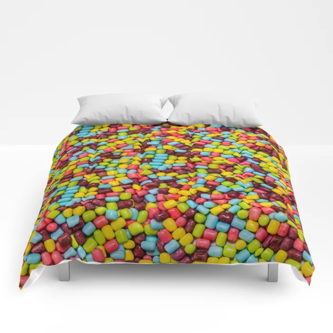 Cotton Candy Marshmallow Candies Pattern Comforters by PatternsSoup