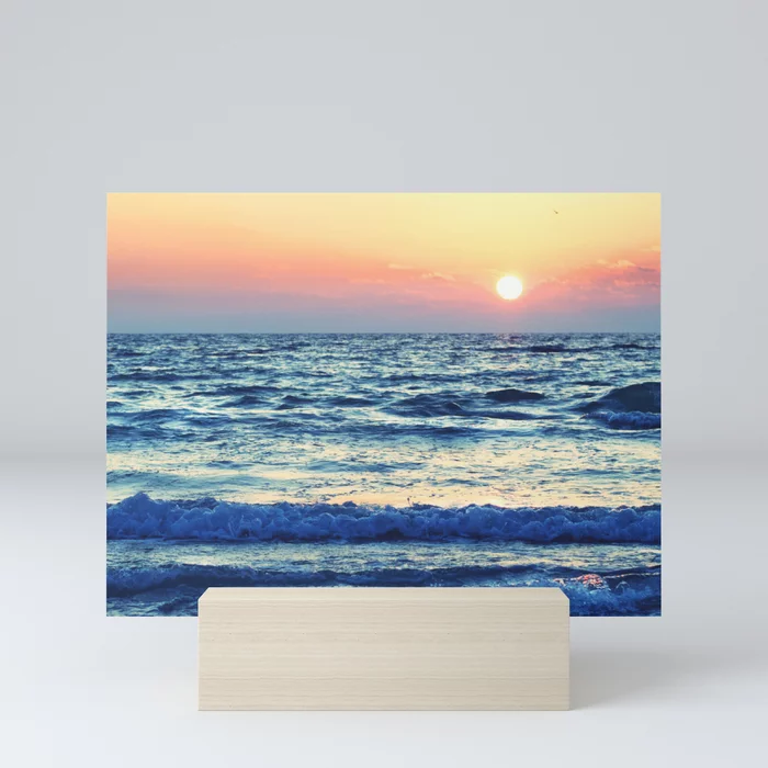 Sunset Beach. Photograph Mini Art Print by lovefi