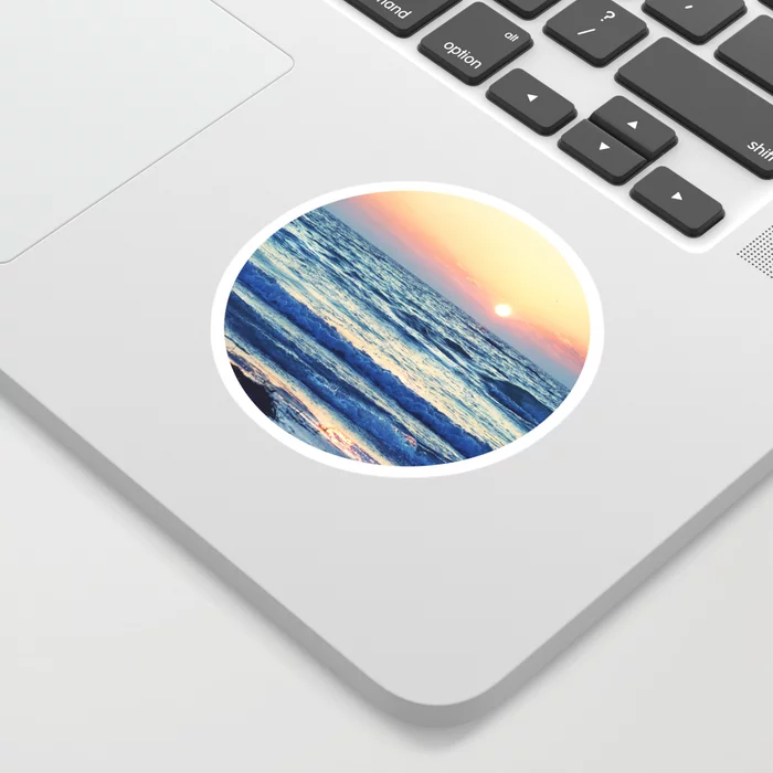 Sunset Beach. Photograph Sticker by lovefi