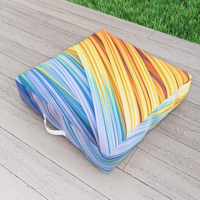 Pastels at Dawn, Abstract Strands. Outdoor Floor Cushion by lovefi