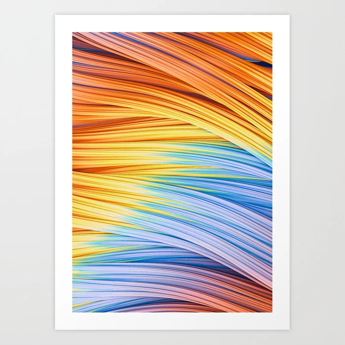 Pastels at Dawn, Abstract Strands. Art Print by lovefi