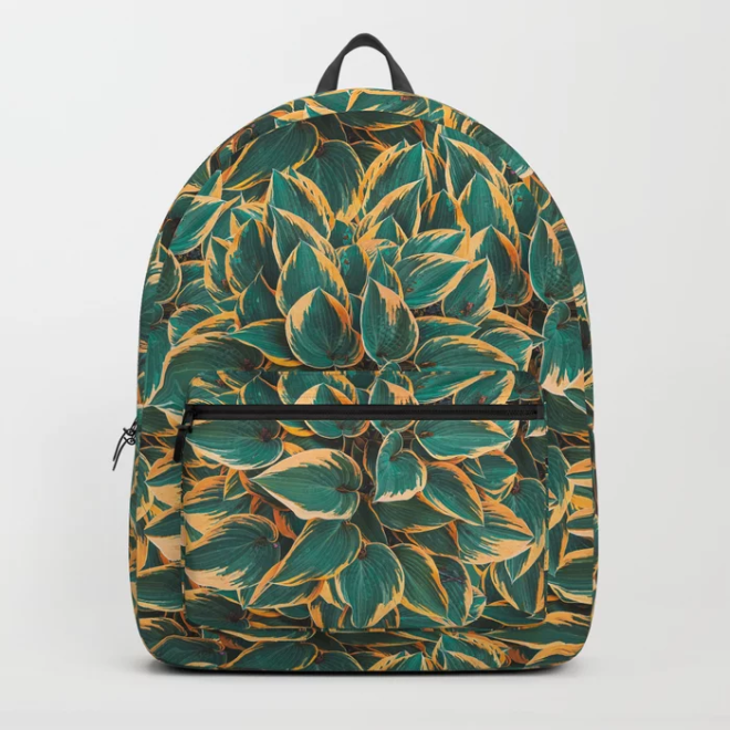 Plantain Lily Foliage Plant Pattern Backpack by PatternsSoup