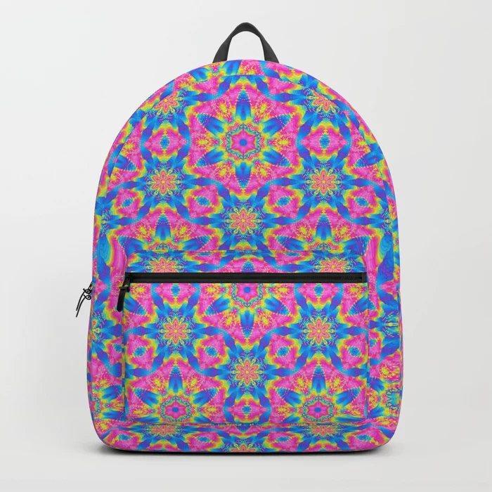 Pink & Blue Superstar Abstract Pattern Backpack by PatternsSoup