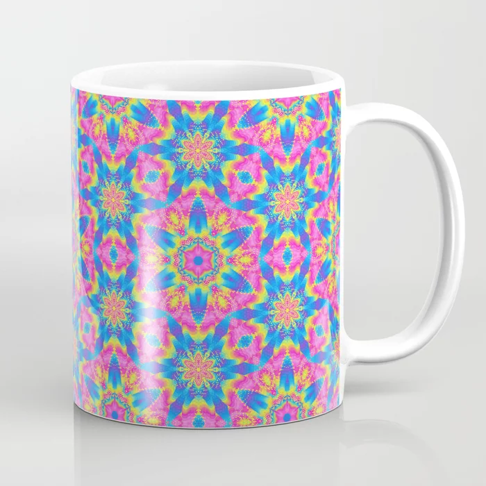 Pink & Blue Superstar Abstract Pattern Coffee Mug by PatternsSoup