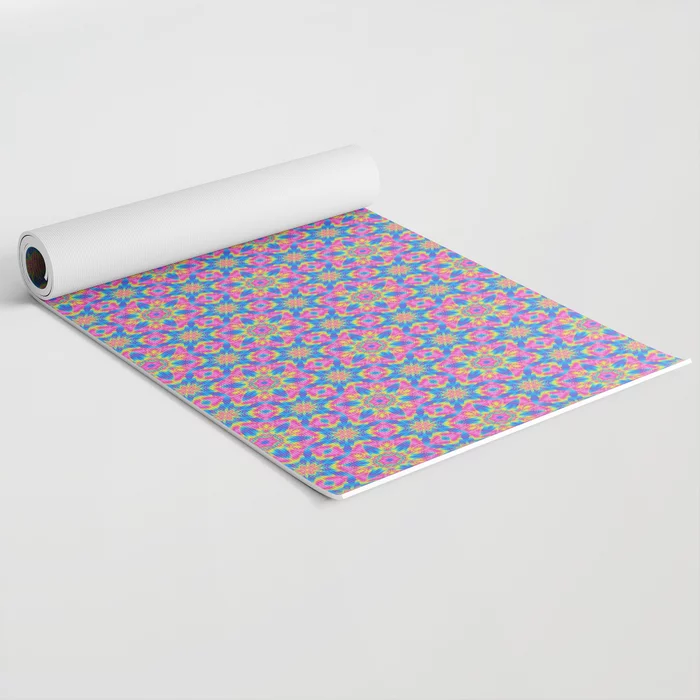 Pink & Blue Superstar Abstract Pattern Yoga Mat by PatternsSoup