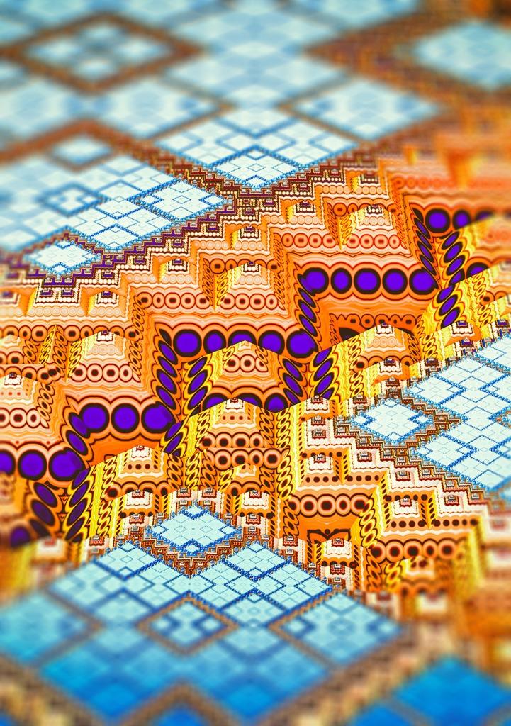 infrastructure III. Blue and Orange Geometric Art by lovefi