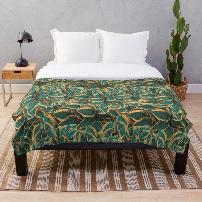 Plantain Lily Foliage Plant Pattern Throw Blanket by PatternsSoup