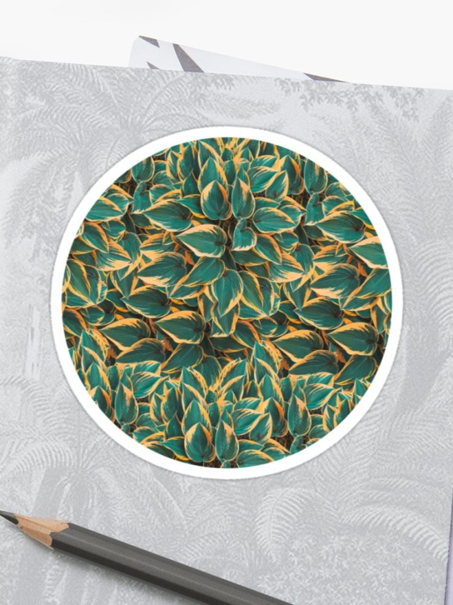 Plantain Lily Foliage Plant Pattern Stickers by PatternsSoup
