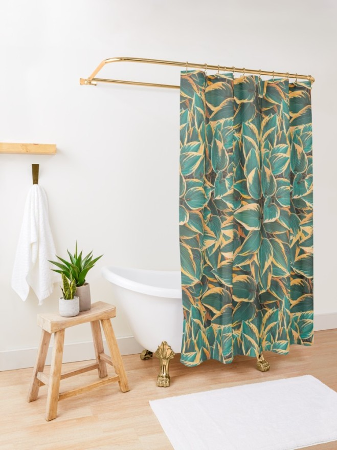 Plantain Lily Foliage Plant Pattern Shower Curtain by PatternsSoup