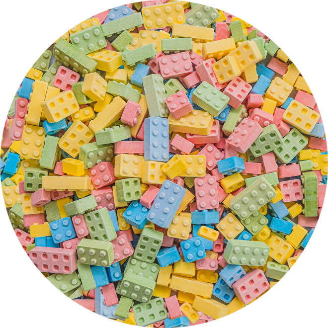 Candy Building Blocks, Multicolored Pastel Pattern by Patterns Soup