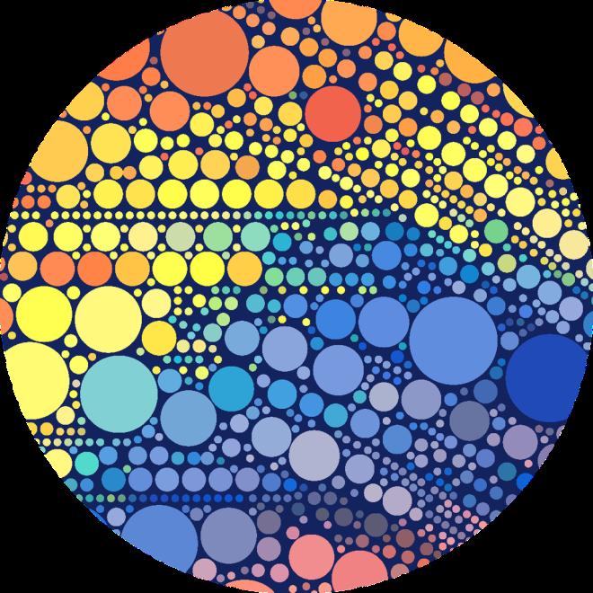 Sun Wave. Orange, Yellow Blue Circles Pattern.